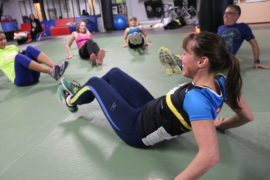 Coach Cindy leads core circuit training